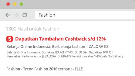 Klik link dapatkan tambahan cashback di hasil pencarian - ShopBack Cashback Buddy