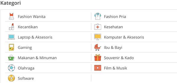 kategori pilihan produk tokopedia