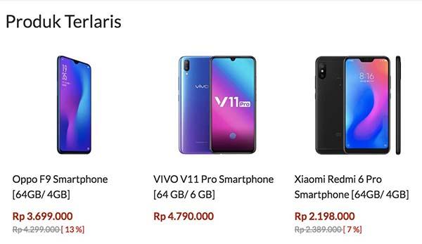 produk handphone terlaris blibli