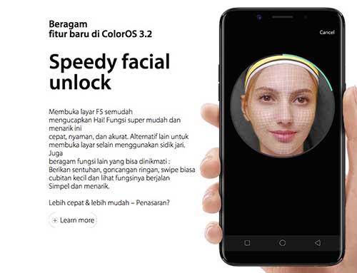 facial unlock oppo f5