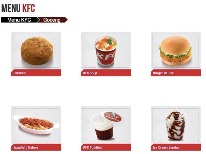Menu Goceng KFC