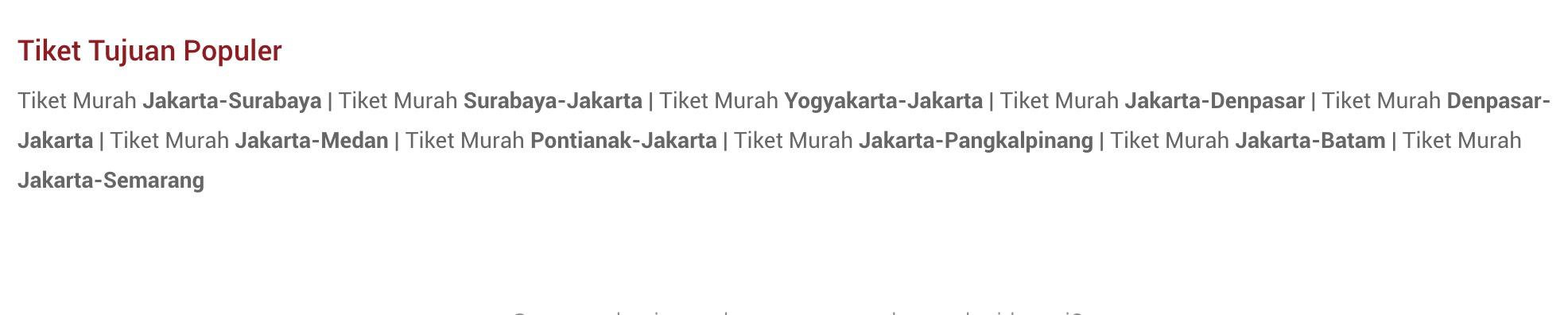 Tiket Tujuan Popular