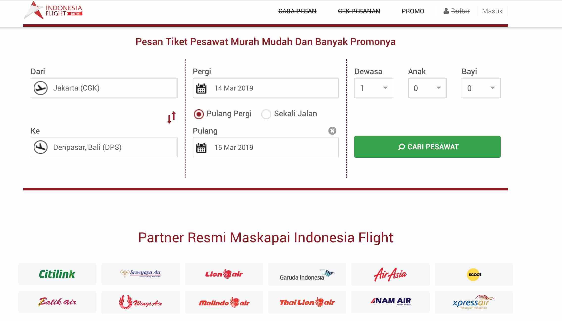 Patner resmi maskapal indonesian flight