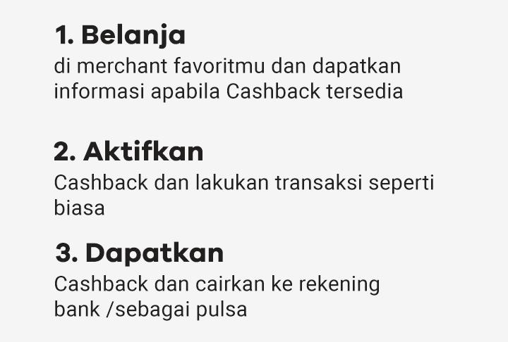 Belanja, Aktifkan, Dapatkan Cashback