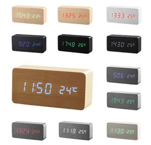 Digital LED Clock Wood