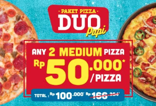 PAPI DUO: Paket Pizza Duo Rp 50.000 / Pizza