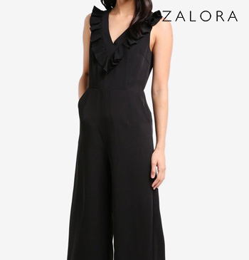 V-Neck Jumpsuit with Frill