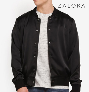 Buttoned Satin Bomber Jacket