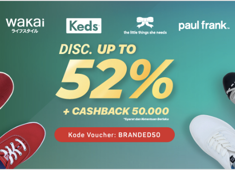 Hemat Hingga 52% + Cashback 50rb  Brand Wakai, Keds, The Little Things She Needs, dan Paul Frank