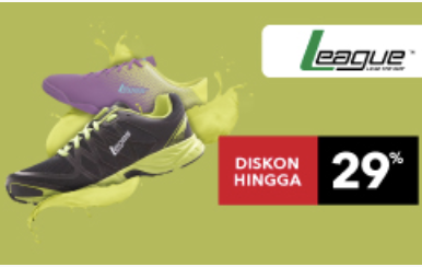 Diskon Sepatu Olahraga League 29%