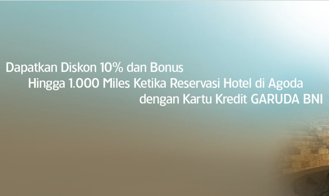 Diskon 10% + Bonus 1000 Miles Pesan Hotel Dengan CC Garuda BNIa