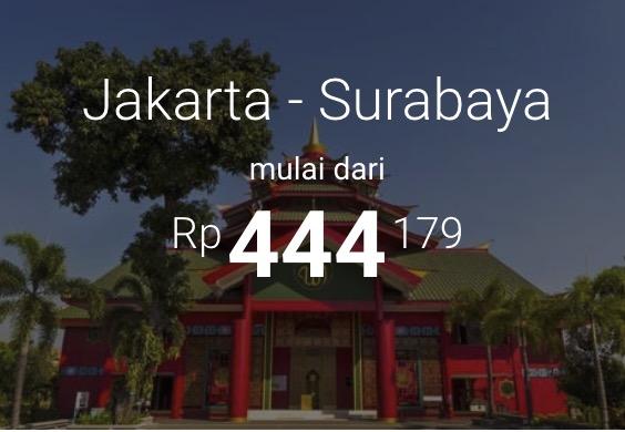 Promo Tiket Pesawat Murah Jakarta - Surabaya Mulai Dari 444rb Saja!