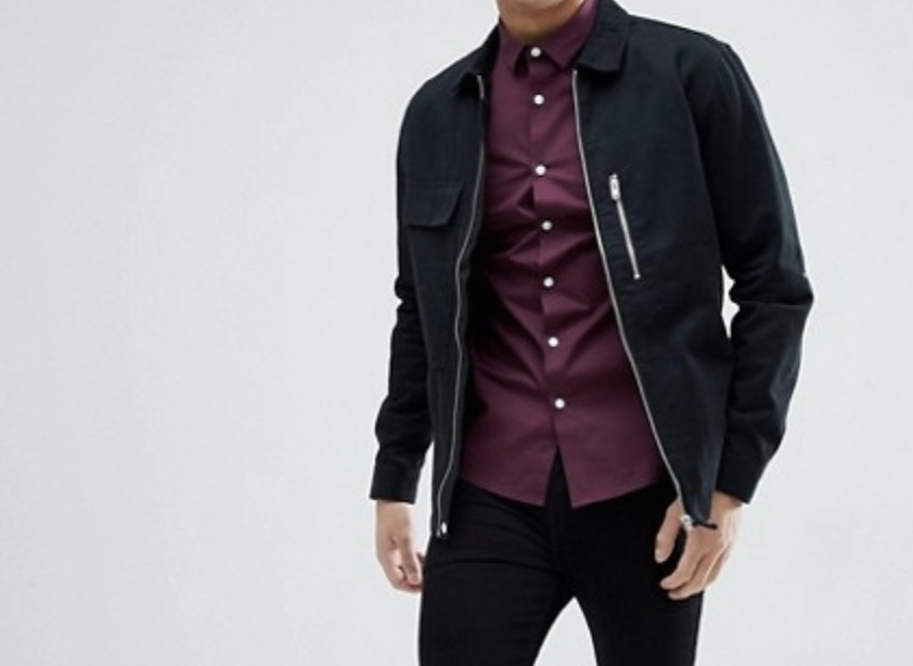 Asos Burgundy Man Shirt Diskon 50%