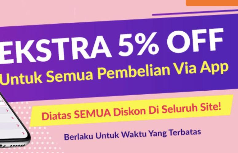 Diskon Ekstra 5% Via Aplikasi