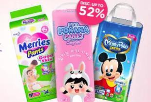 Baby Salebration! Diaper Week Disc Up To 52% + Potongan Hingga Rp 30.000 + Free Gift