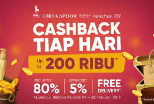 Cashback Setiap Hari Up To 200rb* | Disc Up To 80% | Extra Disc 5% | Free Delivery*