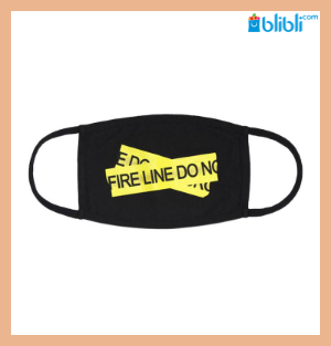 Off White Fire Tape Mask Black Yellow