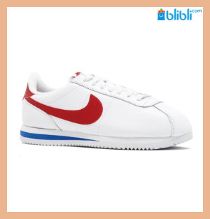 NIKE White Red Classic Cortez Leather Sneakers