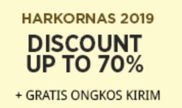 Promo Harkonas - Diskon hingga 70% + Gratis Ongkir