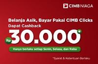 cashback Rp30rb dari CIMB Clicks