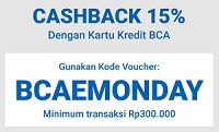 BCAEMONDAY cashback 15% dengan kartu kredit BCA