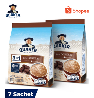 Quaker 3In1 Chocolate Polybag 7s Twinpack