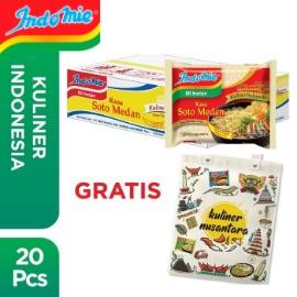 1 Dus isi 20 Pcs - Indomie Soto Medan + Free Tote Bag
