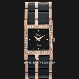 Alexandre Christie AC 2314 LH BRGBA Ladies Black Dial Dual Tone Stainless Steel With Ceramic Strap