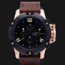 Alexandre Christie AC 6295 MC LBRBABO Man Sport Black Dial Brown Leather Strap