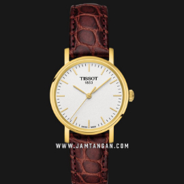 Tissot T109.210.36.031.00 Everytime Small Ladies Silver Dial Brown Leather Strap