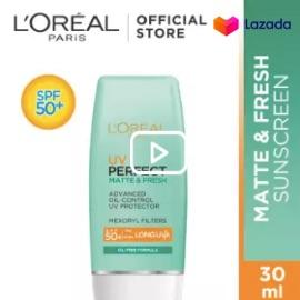 L'Oreal Paris UV Perfect Matte & Fresh Sunscreen Skin Care SPF 50/PA ++++ - 30ml [ Sunblock Waterproof Dengan Hasil Matte Dan Ringan ]
