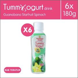 Heavenly Blush Tummy Yogurt Sugar Free Guanabana Spinach Star Fruit [ 6 x 180ml]