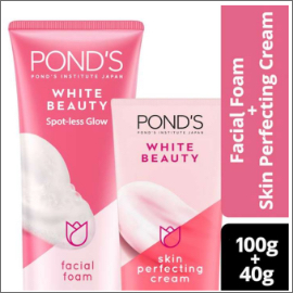 PONDS WHITE BEAUTY FACIAL FOAM 100G & PERFECTING CREAM FOR NORMAL SKIN 40G