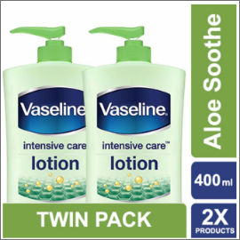 Vaseline Lotion Intensive Care Aloe Soothe 400ml Twin Pack