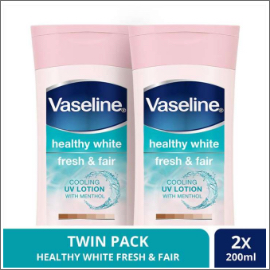 VASELINE HEALTHY WHITE FRESH & FAIR COOLING UV GEL LOTION 200ML TWINPACK