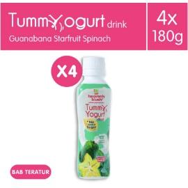Heavenly Blush Tummy Yogurt Sugar Free Guanabana Spinach Star Fruit [4 x 180 ml]