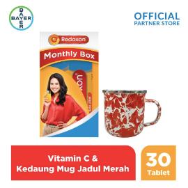 Redoxon X Kedaung Maudy Monthly Box (Redoxon 30 Tablet) & Mug Jadul Merah