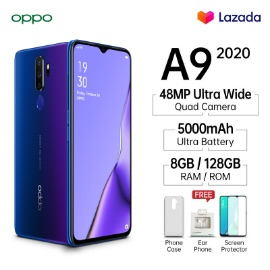 OPPO A9 2020 SMARTPHONE 8GB/128GB ULTRA WIDE QUAD CAMERA, 5000mAh BATTERY, DUAL SPEAKER DOLBY ATMOS (COD, Garansi Resmi, Cicilan 0%, Gratis Ongkir)