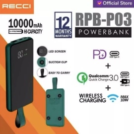 Recci Power Bank Led Wireless Suction Cup RPB-P03 10000Mah Hijau/Hitam - Hitam