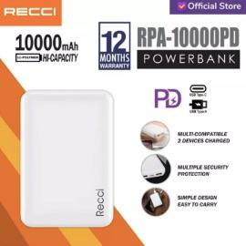 RECCI Powerbank 10000mAh ABS RPA-10000PD Hitam/Putih - Putih