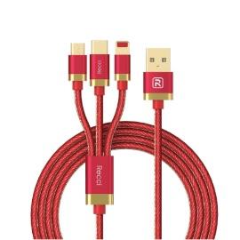 RECCI ASTRAL 3 In 1 Kabel Charger IPHONE/MICRO/TYPE-C 120 CM RCS-K120 Merah/Hitam