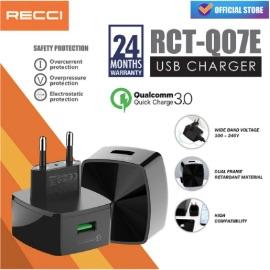 RECCI QC3.0 RCT-Q07E USB Fast Charger Hitam