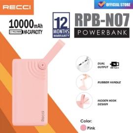 RECCI RPB-N07 Powerbank Hook Design Dual Usb [10000 mAh] Pink