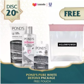 POND'S PURE WHITE - D-TOXX PACKAGE - Vitamin Micellar Water Makeup Remover Charcoal 100ml - Pure White Mineral Clay Foam 90g - Mineral Clay mask 8g
