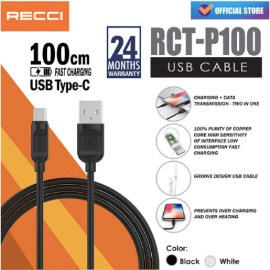 RECCI USB Cable Charger 2.1A Safe Chip [100cm / Type-C / RCT-P100]