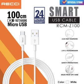 RECCI SMART USB Cable Chager 2.0A TPE Material [100cm / Micro / RCM-Z100] - Putih